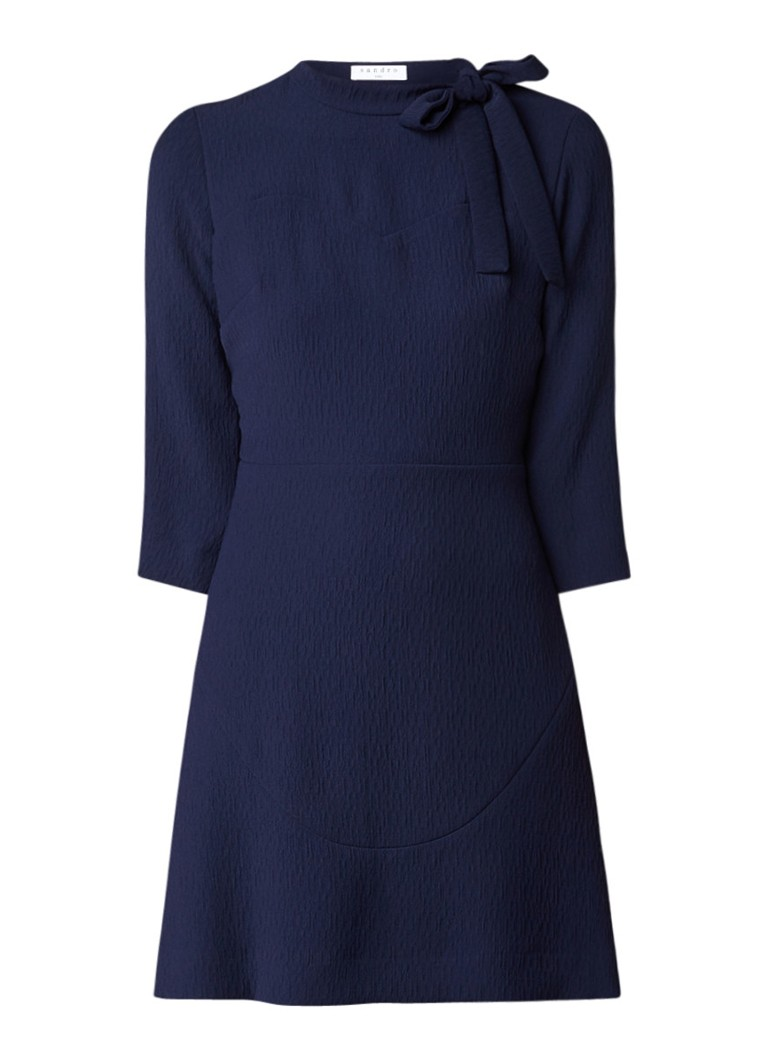 Sandro A-lijn jurk met kant en structuur donkerblauw