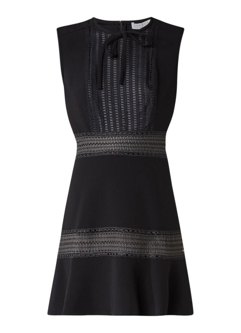 Sandro A-lijn jurk met strik en inzet van kant zwart