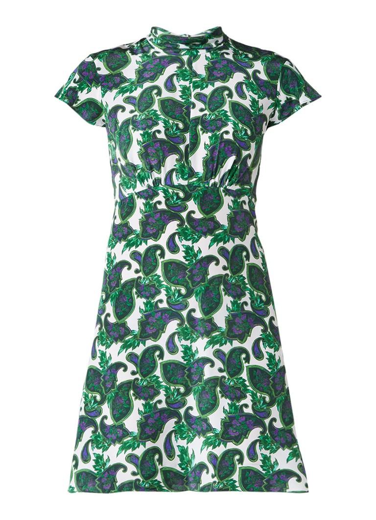Sandro A-lijn jurk van zijde met rugdecolleté en paisleyprint donkergroen