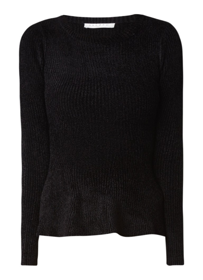 Truien en vesten Sandro Ribgebreide trui met structuur en peplum Zwart