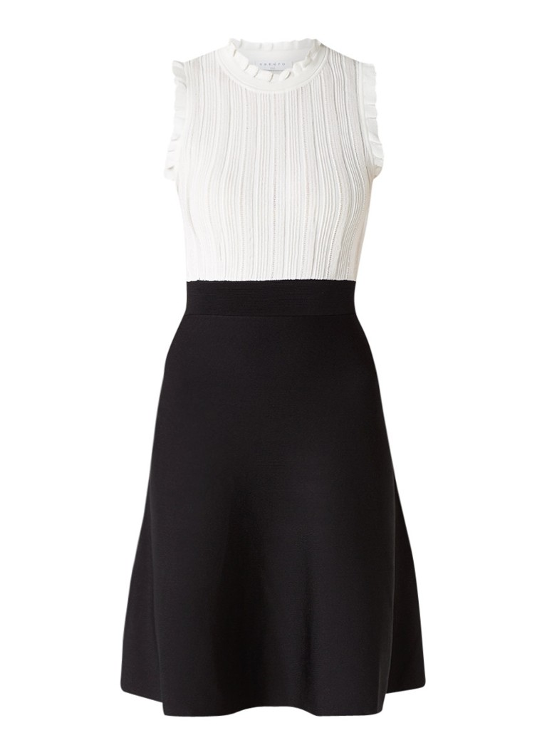 Sandro A-lijn jurk met gebreide contrasttop zwart