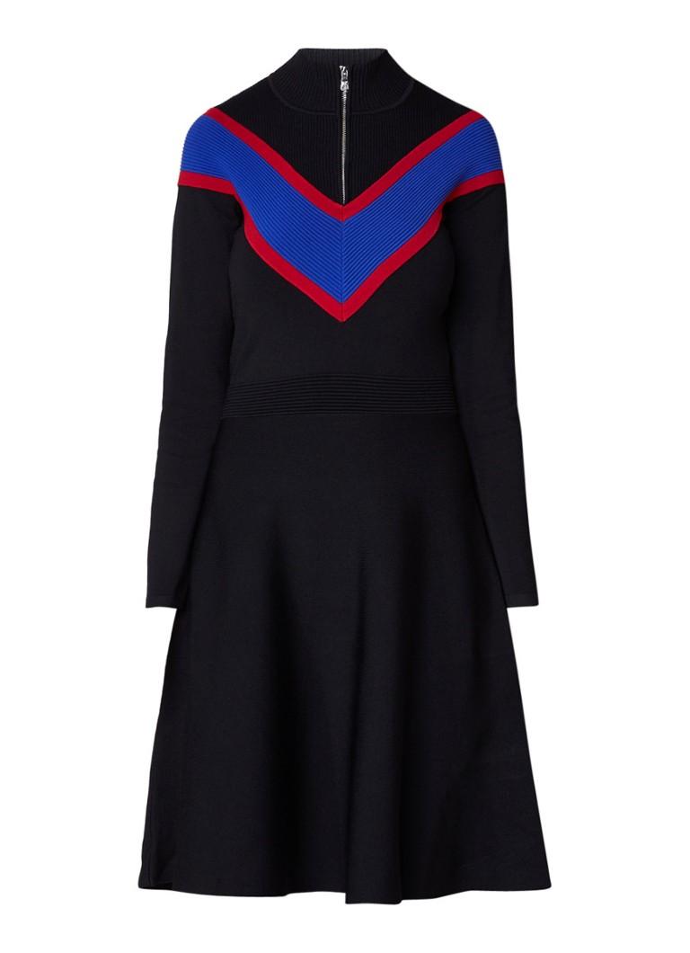 Sandro A-lijn jurk van jersey met ribgebreide inzet zwart