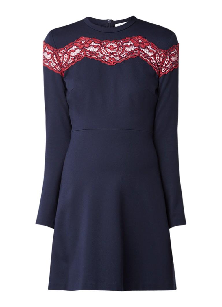 Sandro A-lijn jurk met details van kant donkerblauw