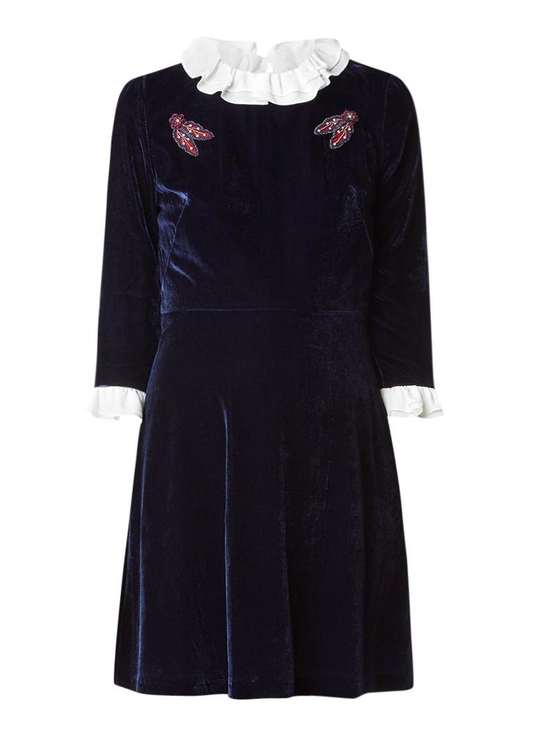 Sandro A-lijn jurk van fluweel met boorde van volant donkerblauw