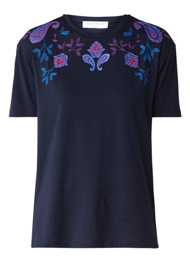 Tops Sandro T shirt met borduring Donkerblauw