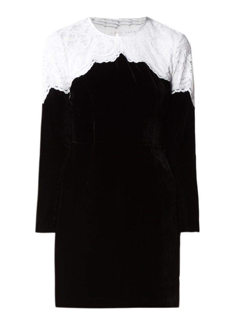 Sandro Jurk van fluweel met inzet van kant zwart