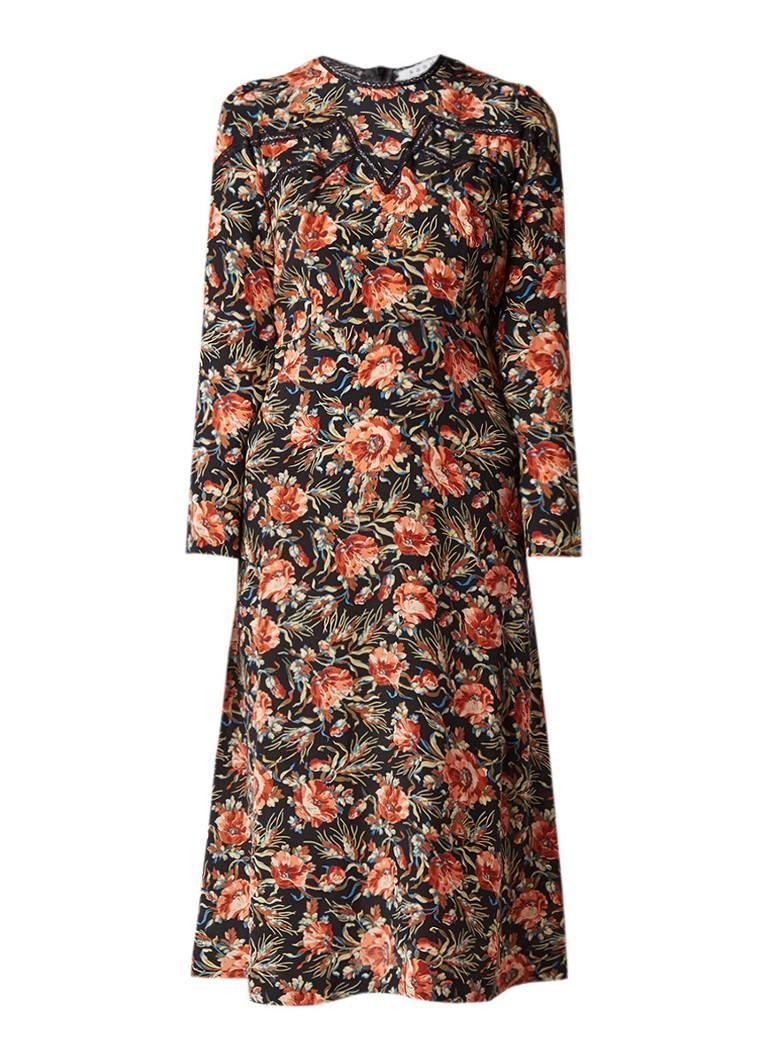 Sandro Midi-jurk van zijde met bloemendessin zwart
