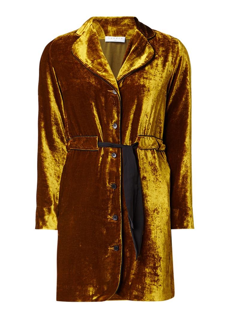 Sandro Mini-jurk van fluweel in zijdeblend met strikceintuur okergeel