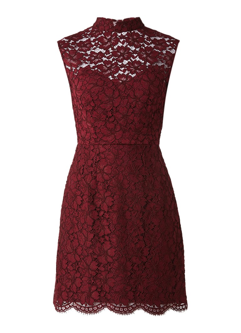 Sandro Mini-jurk van gebloemd kant met rugdecolleté bordeauxrood