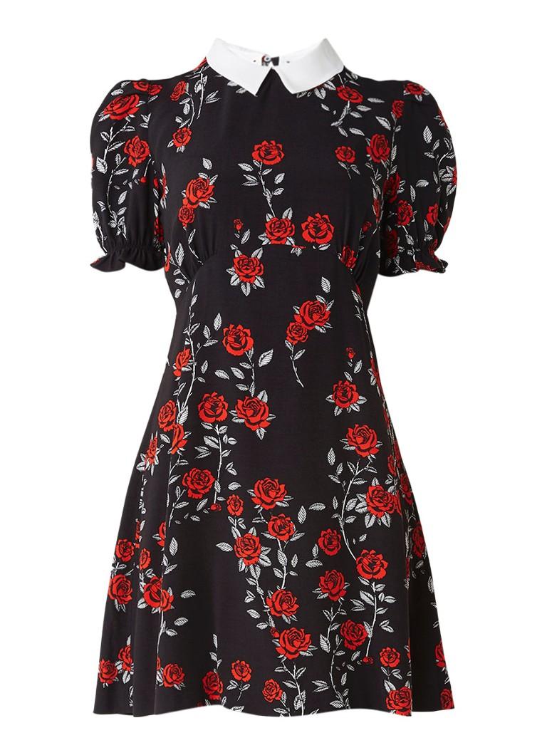 Sandro A-lijn jurk met afneembare kraag en bloemendessin zwart