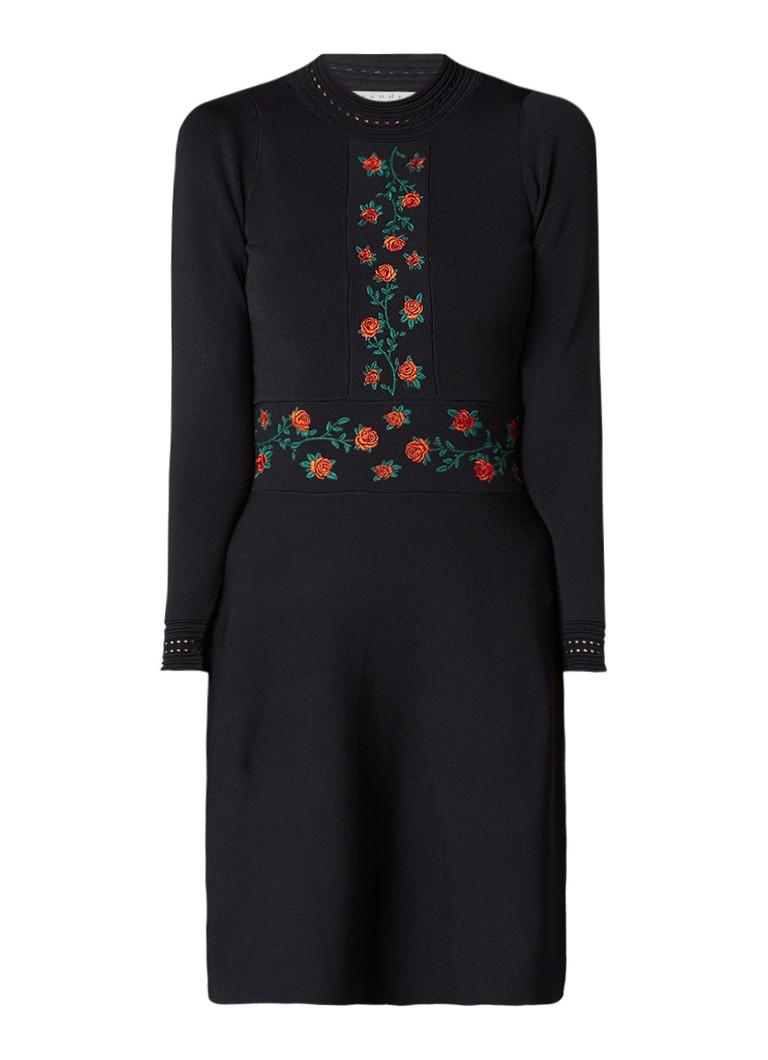 Sandro A-lijn jurk met bloemendessin zwart