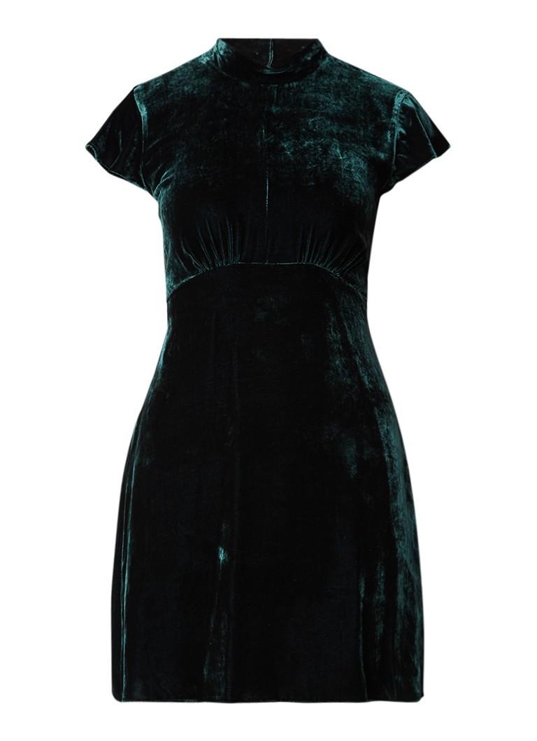 Sandro A-lijn jurk van fluweel donkergroen