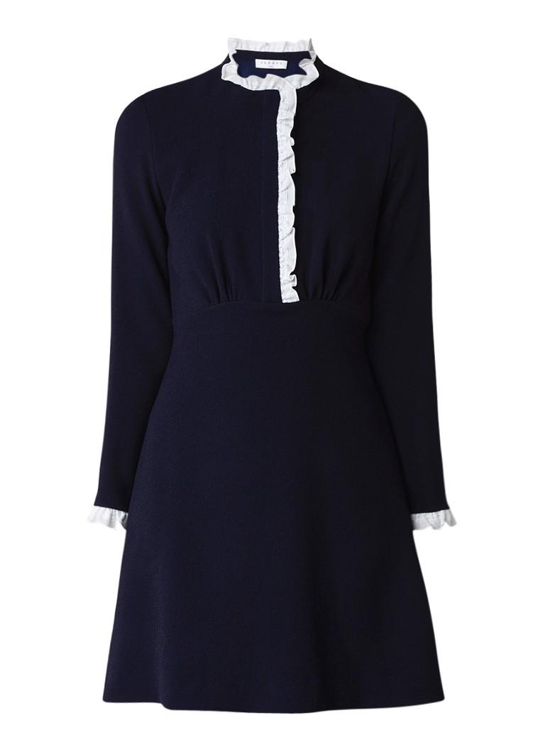 Sandro A-lijn mini-jurk met ruches donkerblauw