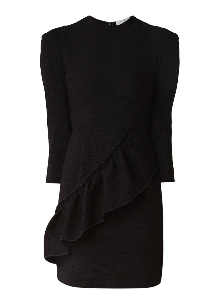 Sandro Mini-jurk met ribstructuur en volant zwart