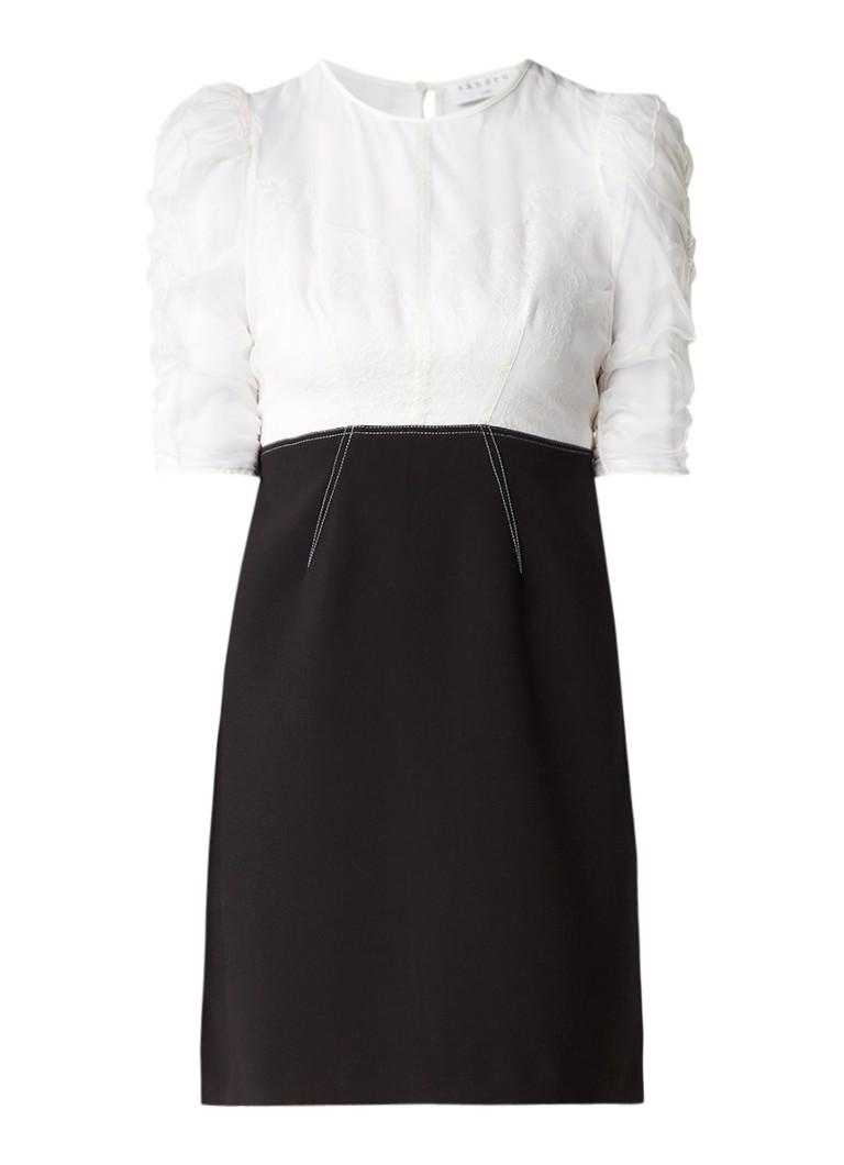 Sandro Semi-transparante mini-jurk met kant zwart