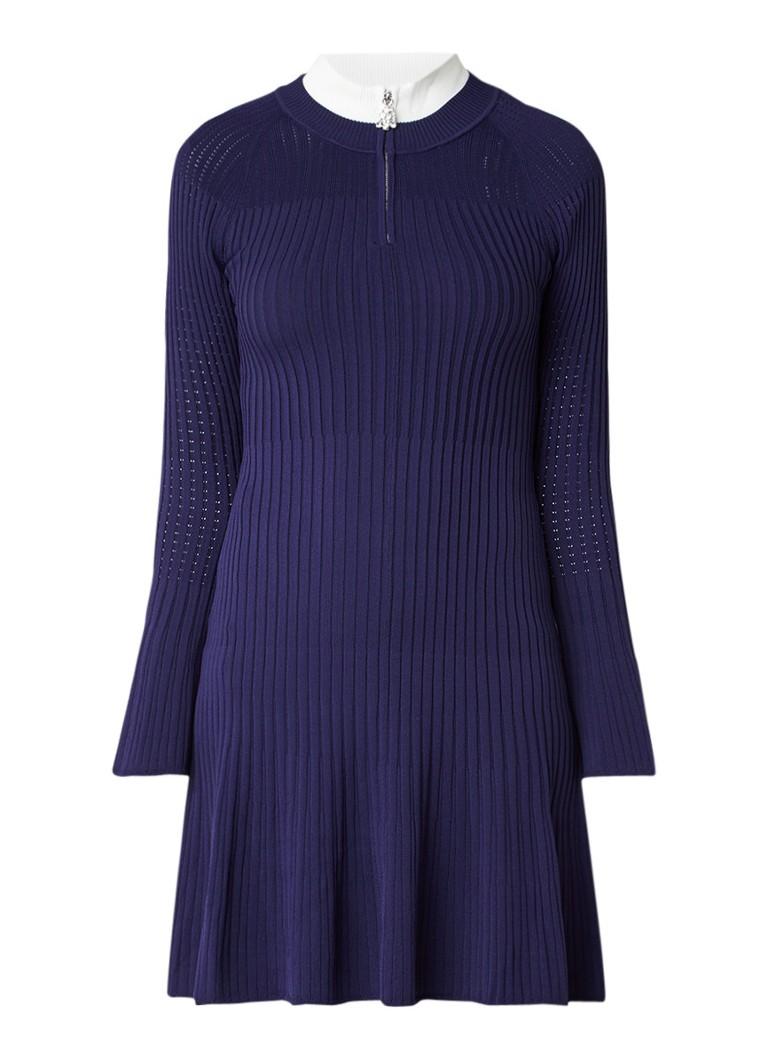 Sandro Ribgebreide jurk met ritsdetail donkerblauw