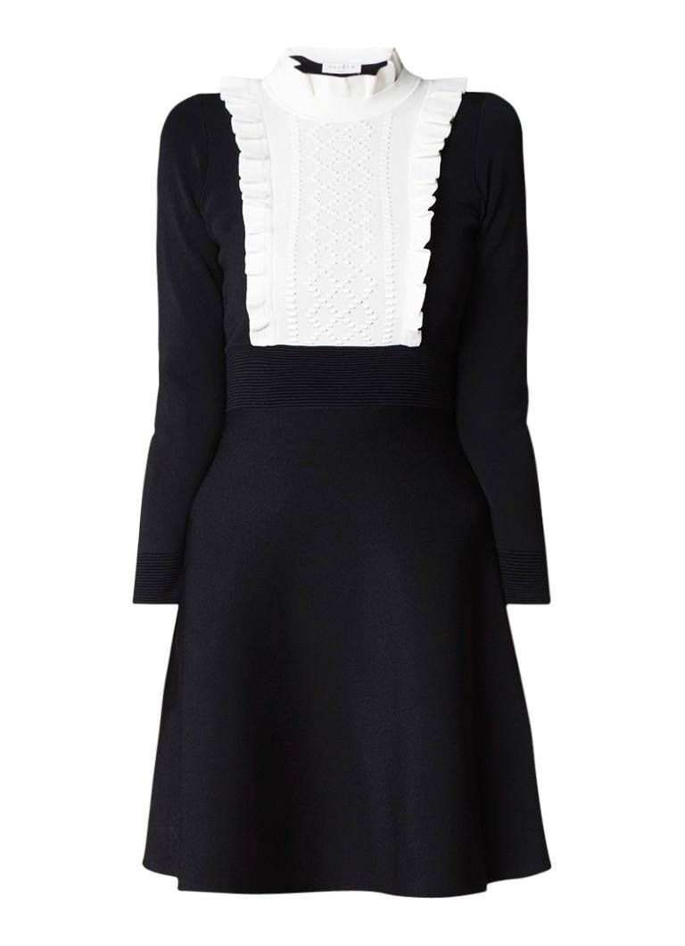 Sandro Ribgebreide A-lijn jurk met contrast befje zwart