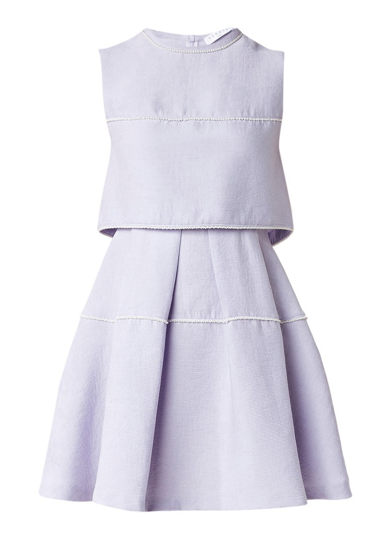 Sandro A-lijn jurk met overlay en pareldetail lila
