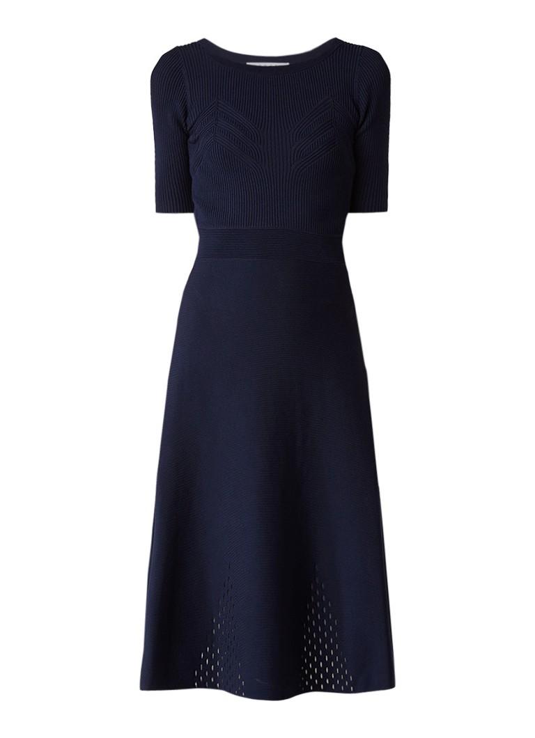 Sandro A-lijn jurk met ingebreid dessin donkerblauw
