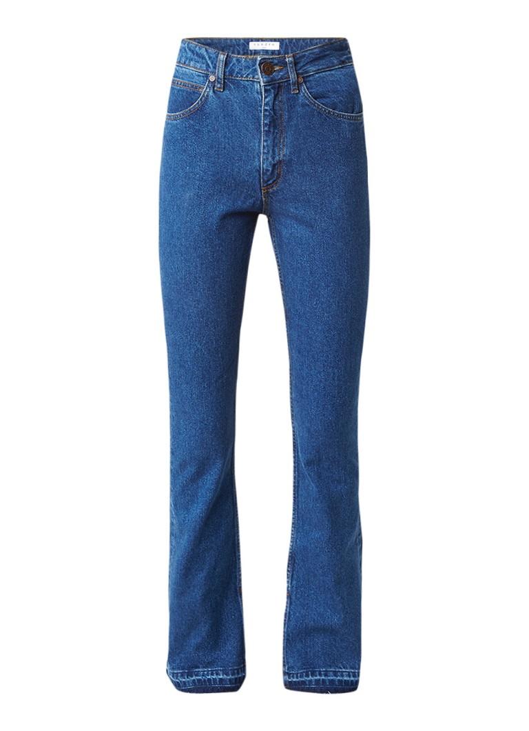 Sandro High rise boot cut jeans met gerafelde afwerking