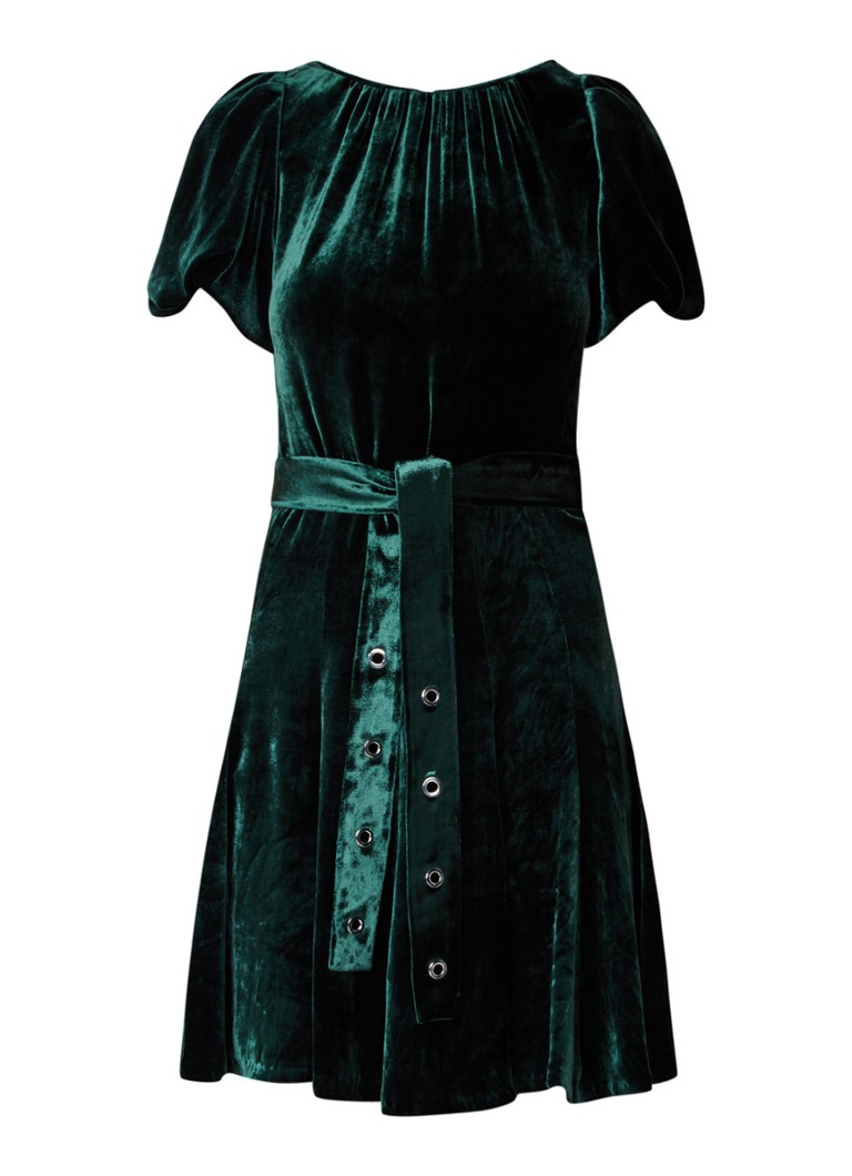 Sandro Mini jurk van fluweel met ceintuur flessengroen