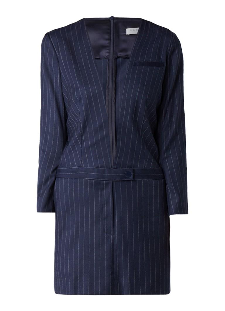 Sandro Midi jurk met gestreept dessin en inzet van kant donkerblauw