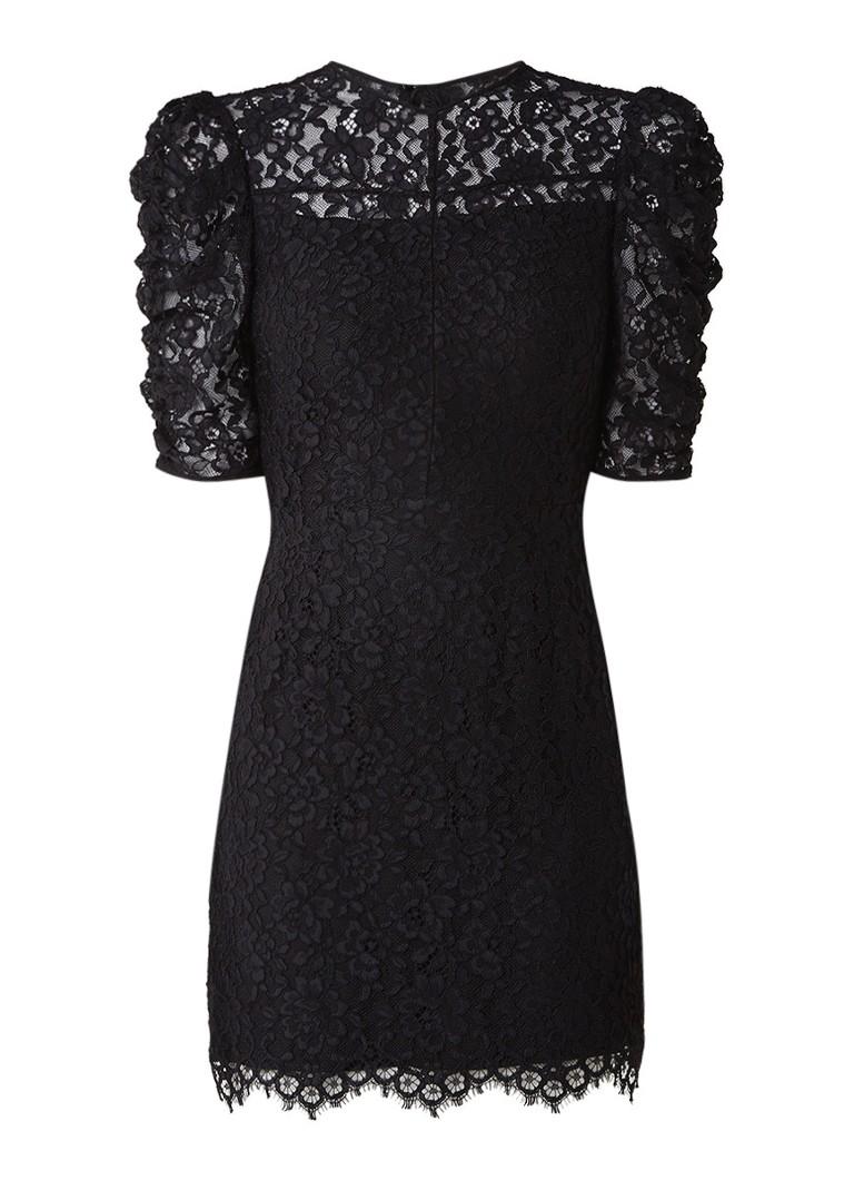 Sandro Mini-jurk van gebloemd kant met geplooide mouw zwart