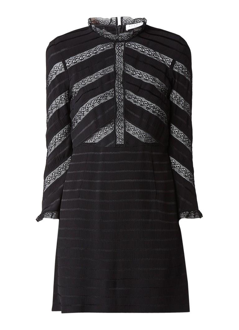 Sandro A-lijn jurk met streepdessin en details van kant zwart
