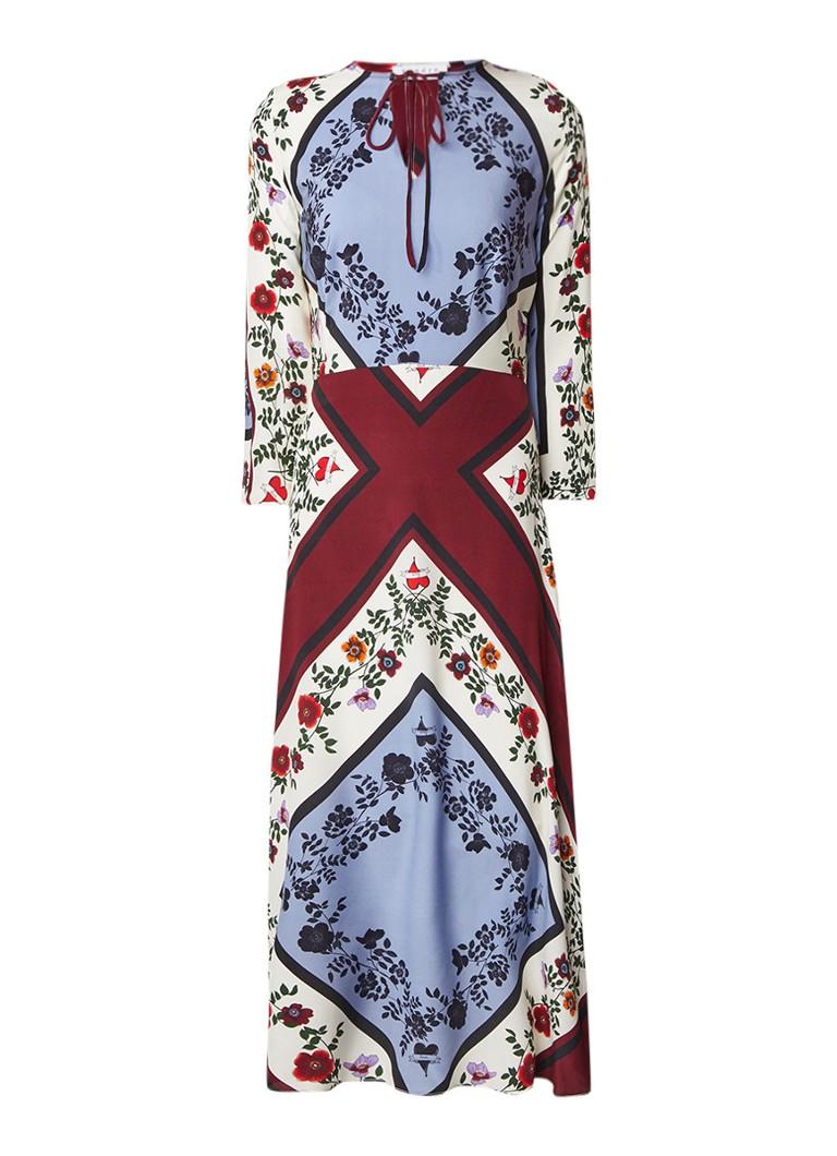 Sandro Midi-jurk van zijde met patchworkdessin multicolor