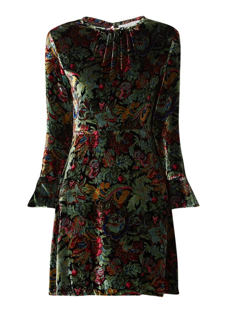 Sandro Swana jurk van fluweel met bloemendessin donkergroen