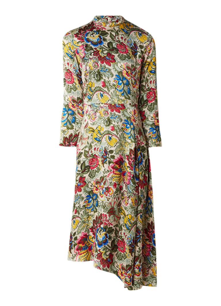 Sandro A-lijn jurk van satijn met bloemendessin creme