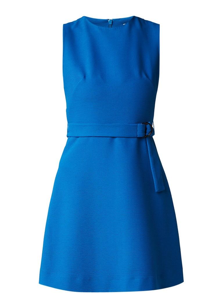 Sandro A-lijn jurk met ribstructuur en ceintuur donkerrood