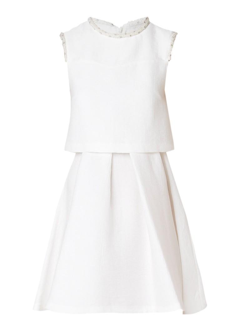 Sandro A-lijn jurk met structuur en parel-detail gebroken wit
