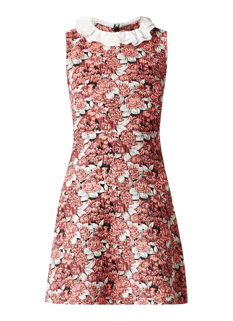Sandro A-lijn jurk met structuur en bloemendessin roze