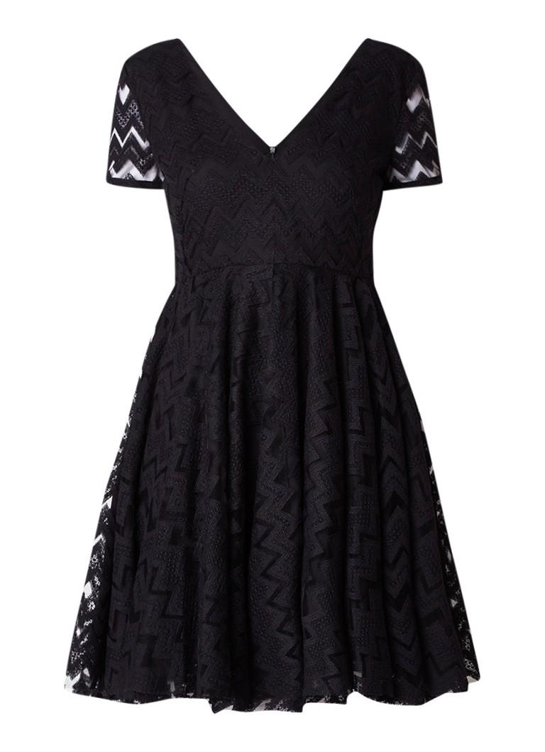 Sandro A-lijn jurk met detail van kant en mesh zwart