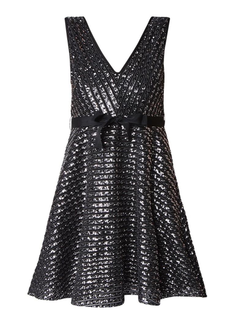 Sandro A-lijn jurk met strikceintuur en pailletten zwart