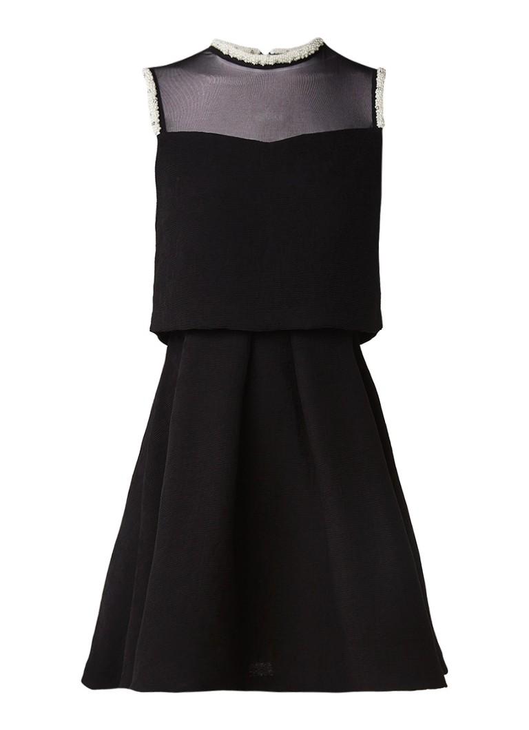 Sandro A-lijn jurk met overlay en parel bies zwart