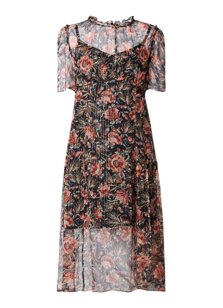 Sandro Semi-transparante midi-jurk met bloemendessin en lurex zwart