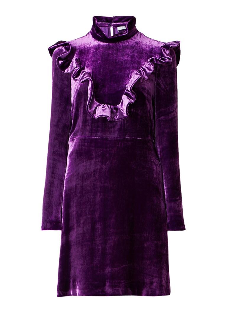 Sandro A-lijn jurk van fluweel met ruches paars
