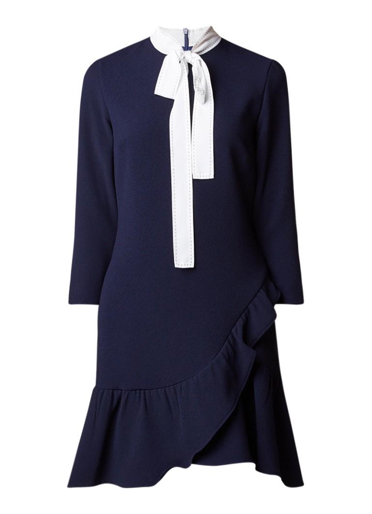 Sandro A-lijn jurk met ruches en strikkraag donkerblauw