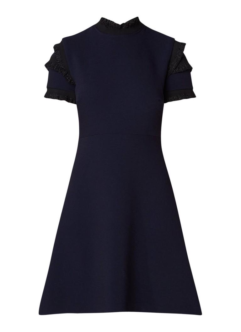Sandro A-lijn jurk met structuur en ruches van lurex donkerblauw