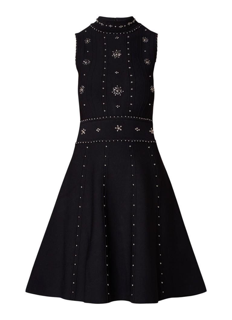 Sandro A-lijn jurk met ribstructuur en strass zwart