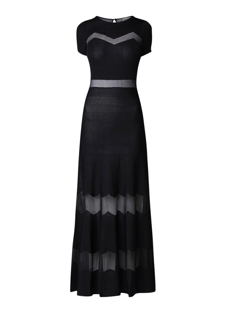 Sandro Lange jurk met semi-transparant streepdessin zwart