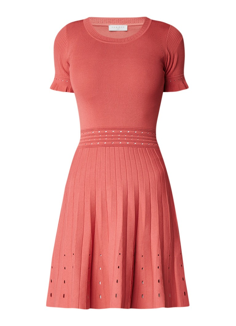 Sandro A-lijn jurk met ruches met opengewerkte details mint