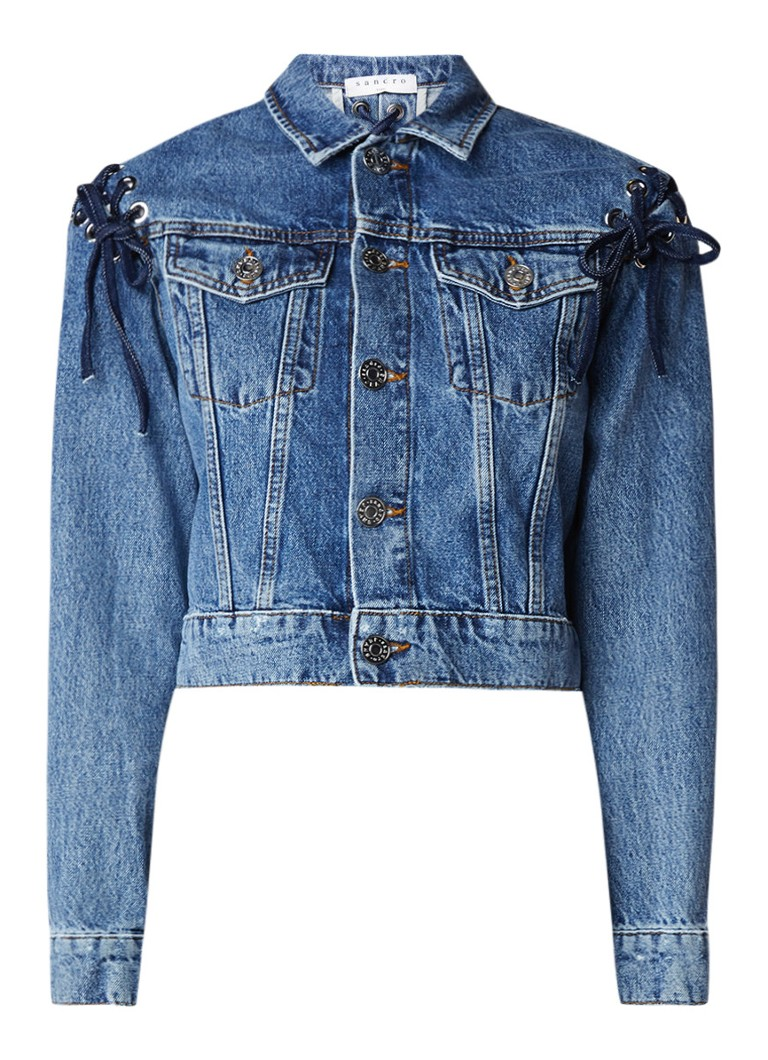 Sandro Cropped denim jack met rijgdetail