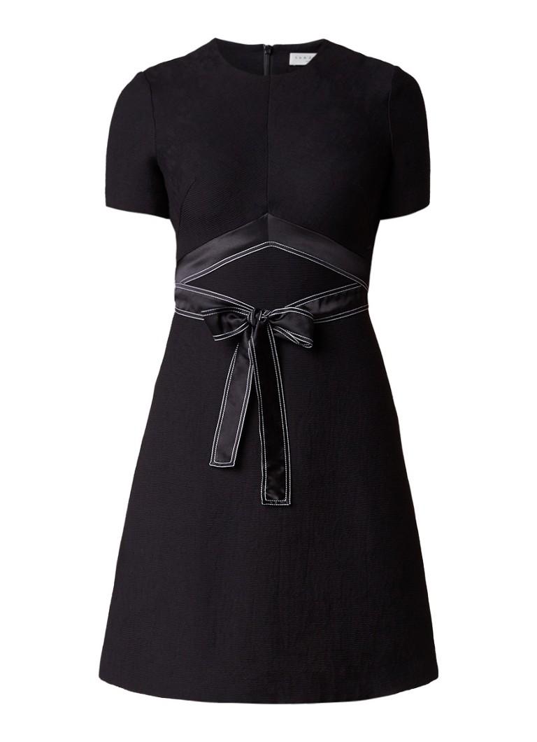 Sandro A-lijn jurk met ceintuur van zijde roze