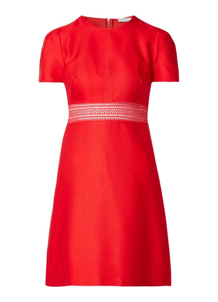 Sandro A-lijn mini-jurk met inzet van kant rood