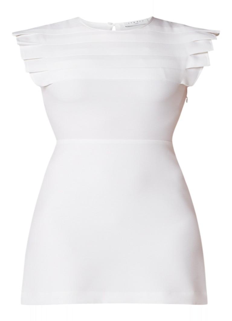 Sandro Mini-jurk met kapmouw en plooidetails gebroken wit