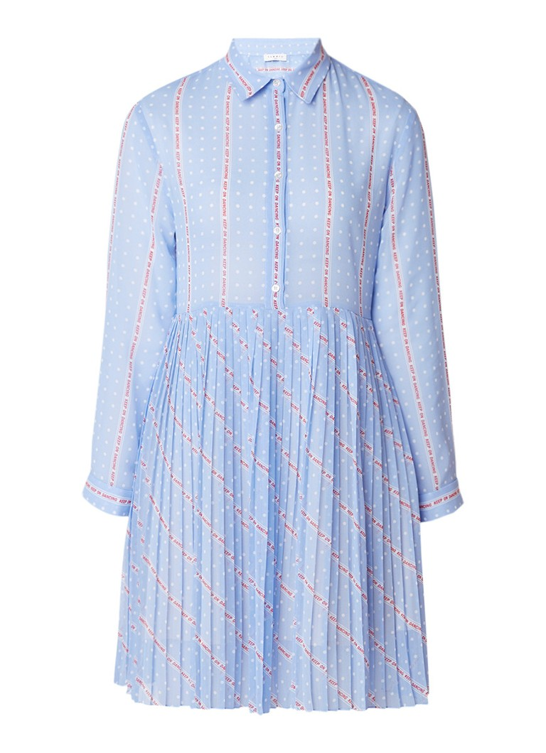 Sandro Semi-transparante blousejurk met gestipte tekstopdruk en plissé lichtblauw