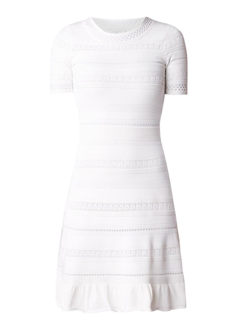 Sandro A-lijn jurk met opengewerkt dessin zwart